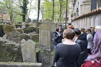 At Prague's Jewish cemetery, with the grave of Rabbi Loew