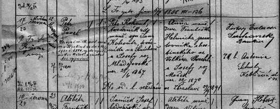 Birth record of Petr Pavel Kahout